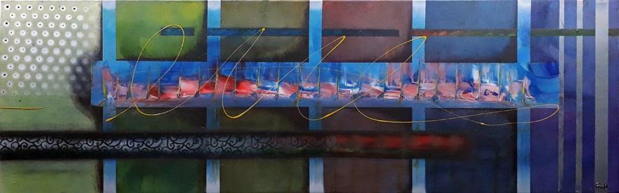 """#63 """"Persistance"""" Acrylique sur toile, 40x120"""