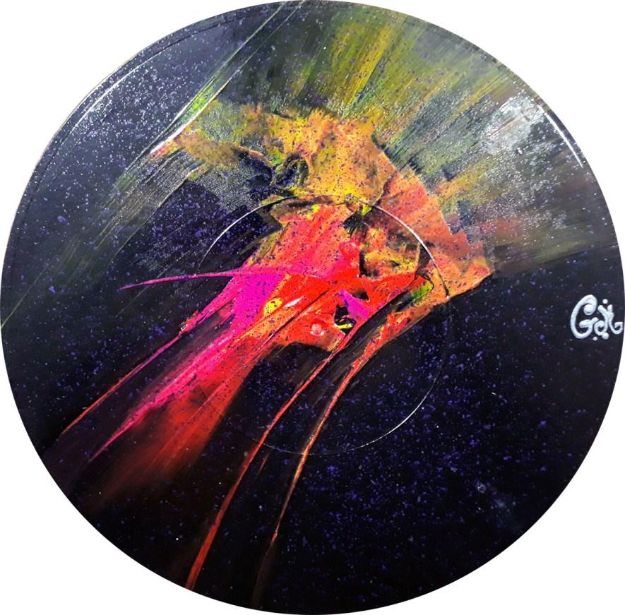 """#73 """"Corpus fugit"""" Acrylique sur vinyle, 78 tours"""