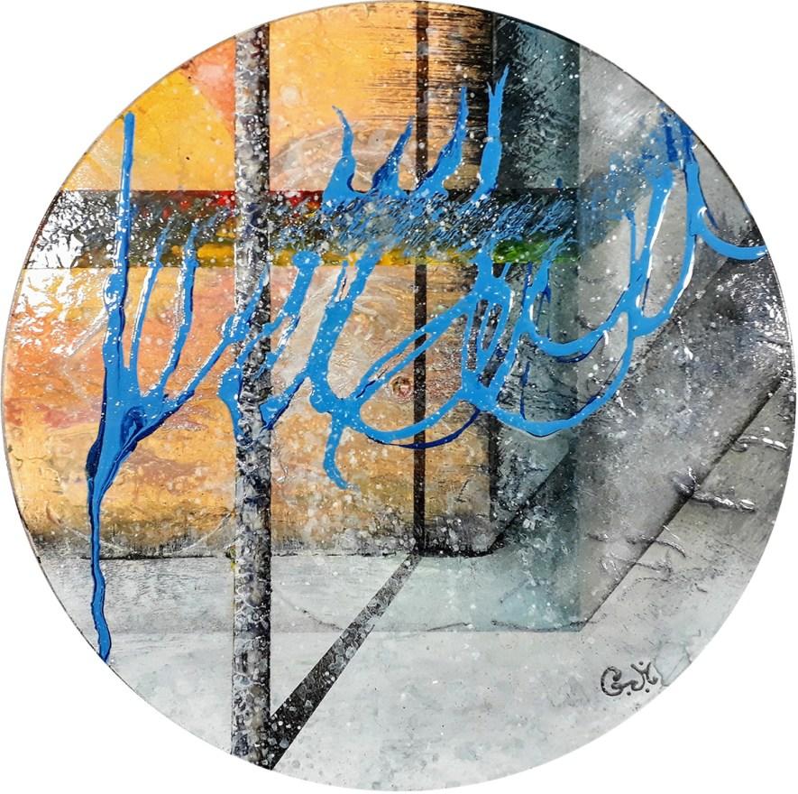 """#77 """"Croisement"""" Acrylique sur vinyle, 78 tours"""