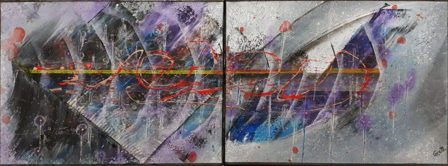 """#82 """"Résonance"""" Acrylique sur toile, 30x80"""