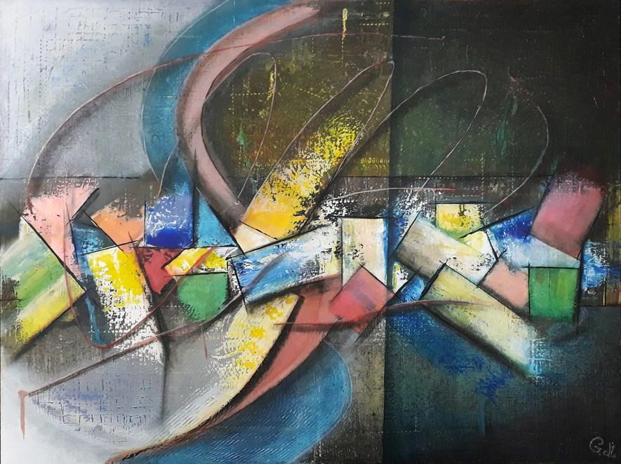 """#85 """"Cheminements"""" Acrylique sur toile, 60x80"""
