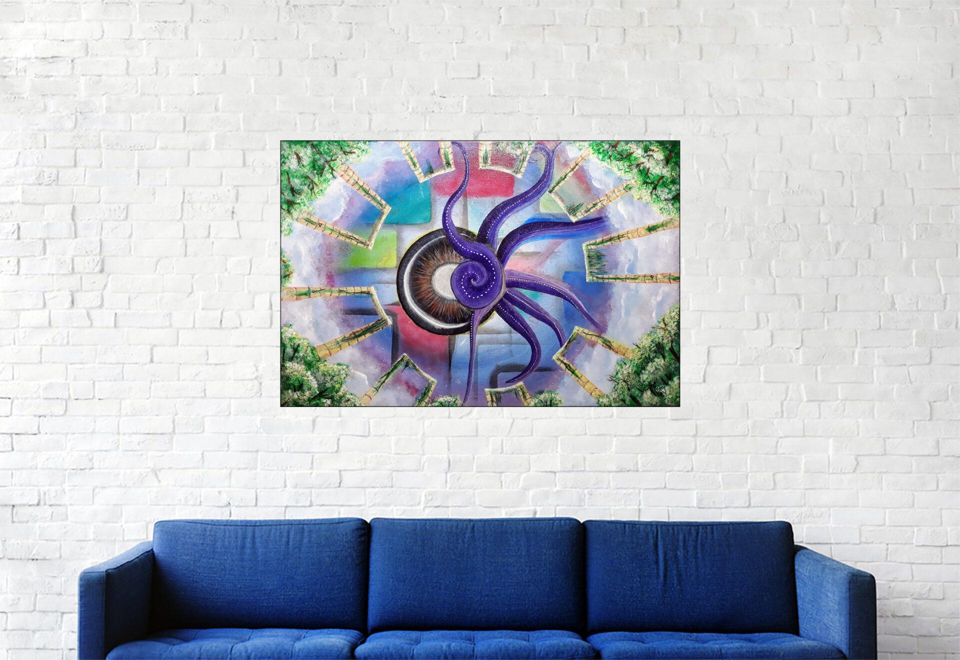 """#154 """"La couleur tombée du ciel"""" Acrylique sur toile, 40 x 60 cm"""