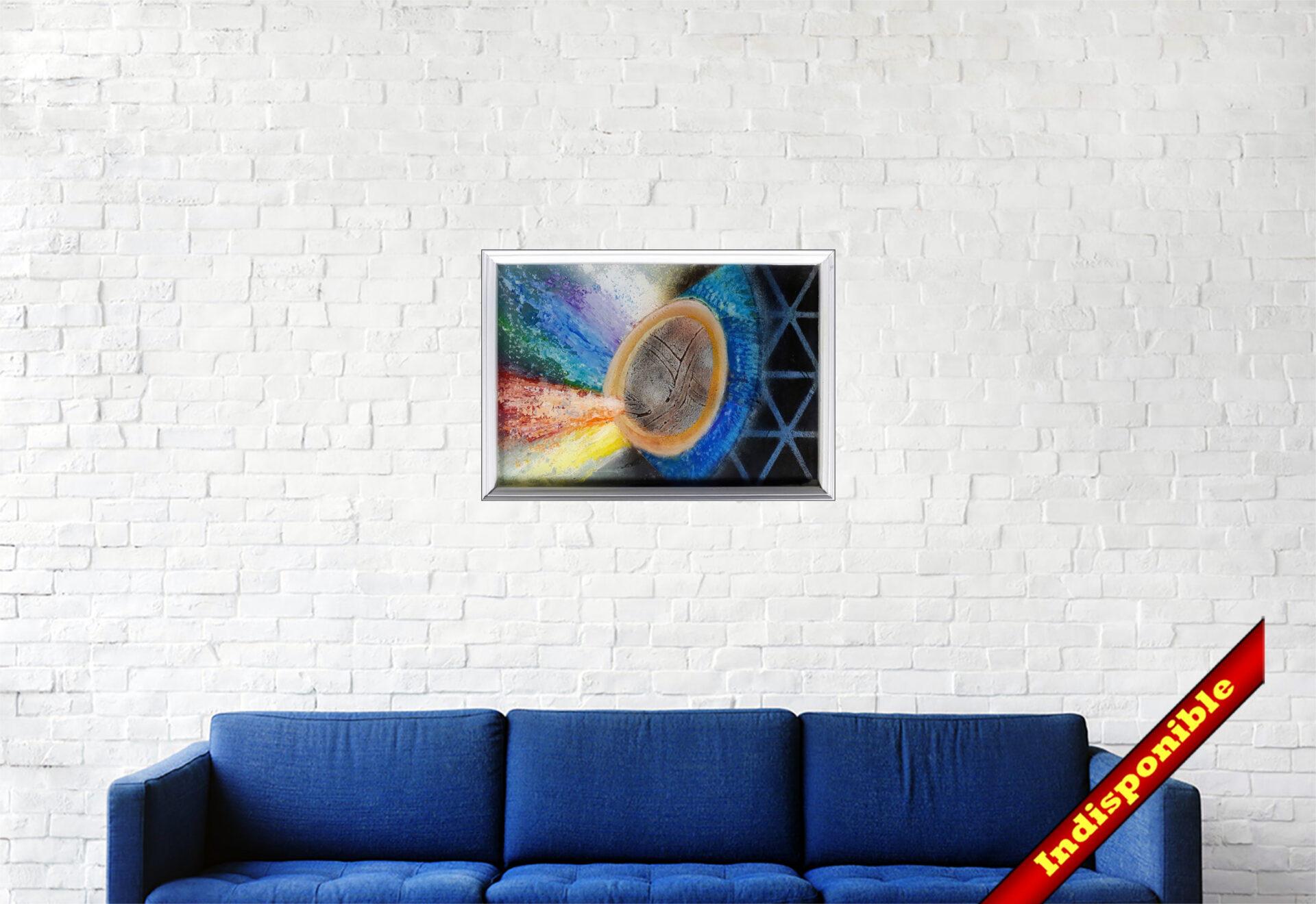 """#161 """"Eclosion"""" Plateau acrylique sur toile et résinage epoxy, 27 x 38 cm"""