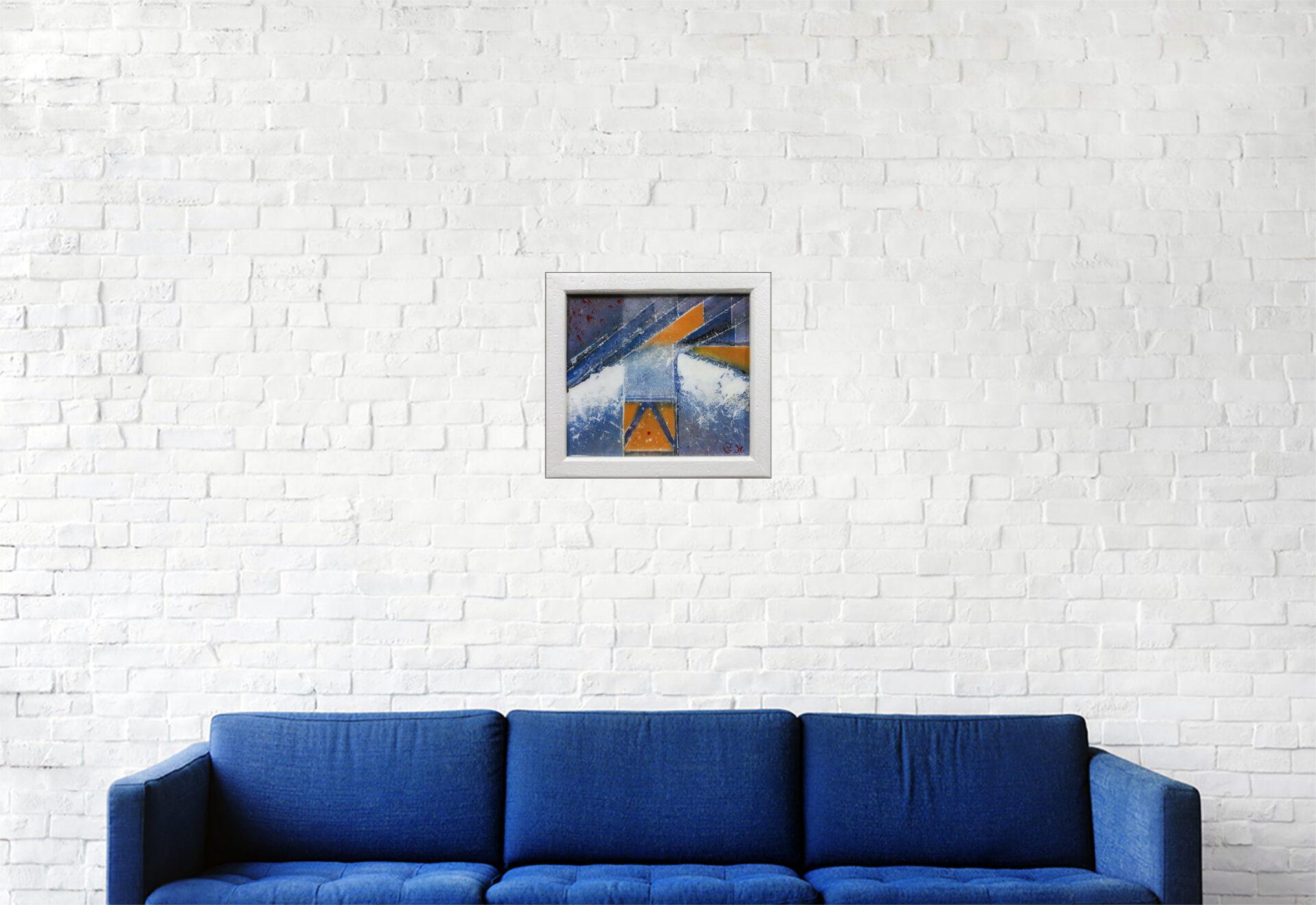 """#163 """"Rapture"""" Acrylique sur toile, résine époxy, 21 x 23 cm"""