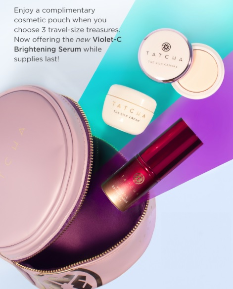 Tatcha Build Your Own Travel Set bag and samples