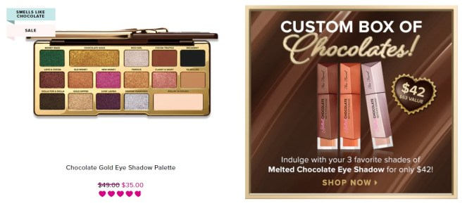 Too Faced Chocolate makeup deals
