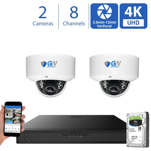 GW970HD 8 Channel 2 Camera 4K H.265+ Dome Security Camera System