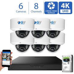 GW970HD 8 Channel 6 Camera 4K H.265+ Dome Security Camera System
