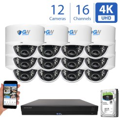 16 Channel 12 Camera H.265 NVR 8MP 4K IP Dome Security Cameras