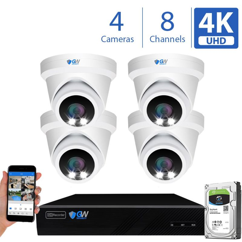 8093fmic 8 Channel 4 Camera 8MP IP PoE Security Camera System
