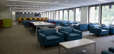 Picture of Gelman Library entrance floor renovated interior