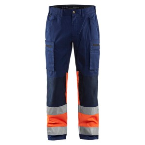 Blåkläder 1551 werkbroek met Stretch High Vis Blauw/Oranje