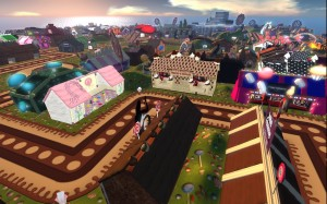 A Candy Land Hair Fair :) The modern buildings on the horizon are from the Beta Technologies headquarters sim.
