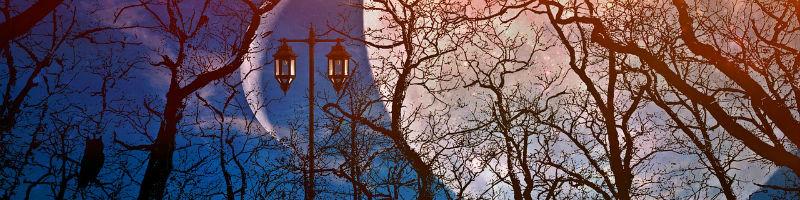 Fantasy lamp post and moons