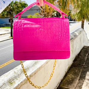 Pink Top Handle Tote with Gold Chain