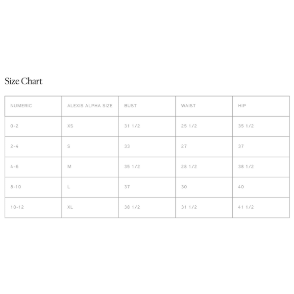 Alexis Size guide