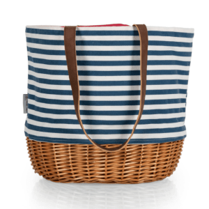 Coronado Canvas and Willow Basket Tote in Navy Blue and White Stripe
