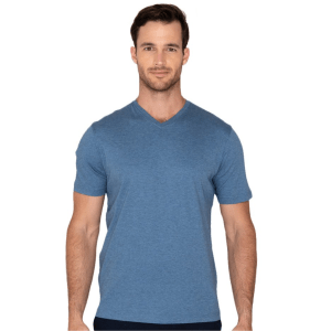 Model Wearing The Noah V-Neck in Denim product shot front view