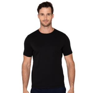 Model Wearing Lafayette Tee in Black product shot front view