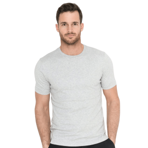 Model Wearing Lafayette Tee in New Grey product shot front view
