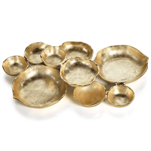 Dark Gold Small Cluster of 8 Serving Bowls