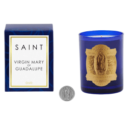 Virgin Mary of Guadalupe Special Edition Candle product shot packaging, candle, and coin