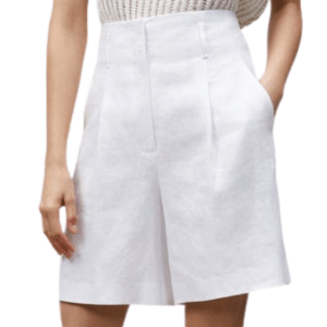 Model Wearing Lafayette 148 Degraw Short in White front view