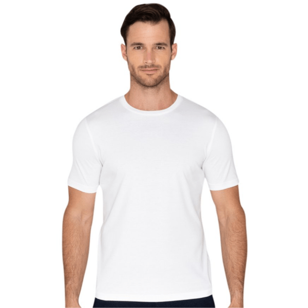Model Wearing Lafayette Tee in White product shot front view