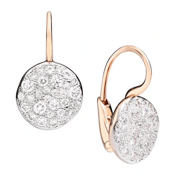Earrings Sabbia in Rose Gold with Drop Diamonds product shot front and side view