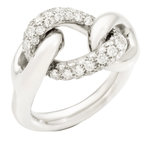 Ring Catene in White Gold with Diamonds