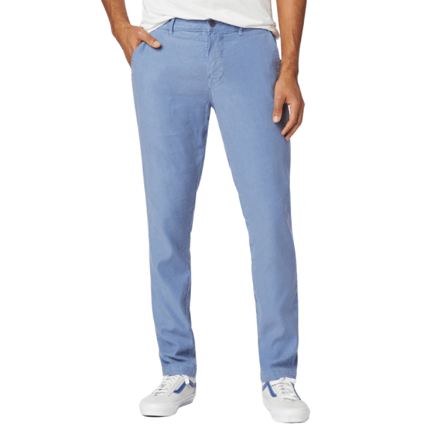 Model Wearing Classic Slim Straight Chino in Harbor Blue front view