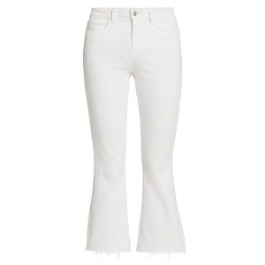 l'agence Kendra High Rise Crop Flare Jean in Blanc product shot front view