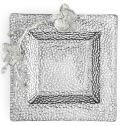 White Orchid Glass Snack Dish product shot aerial view