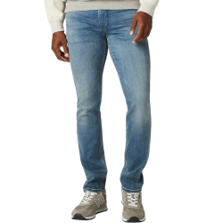 Model Wearing Blake Slim Straight Jean in Pacific front view