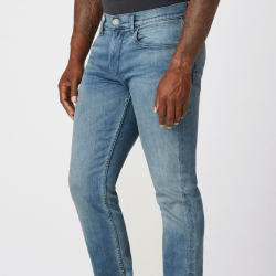 Model Wearing Blake Slim Straight Jean in Pacific front side view