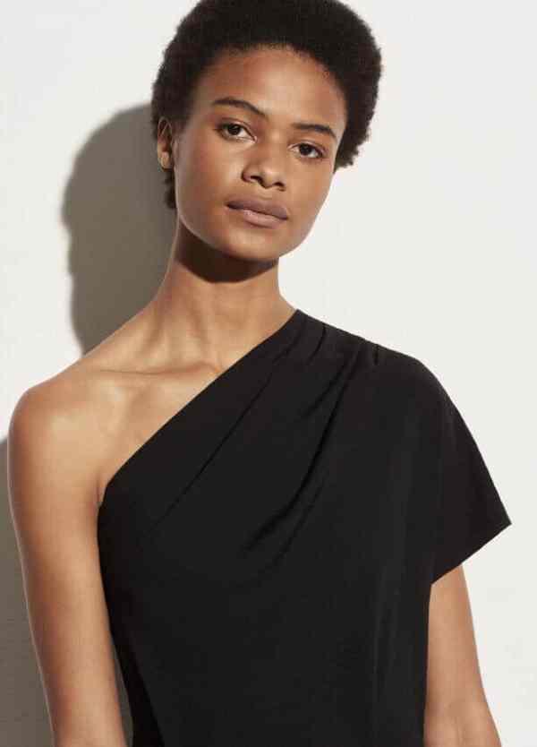 One Shoulder Cascade Drape Dress