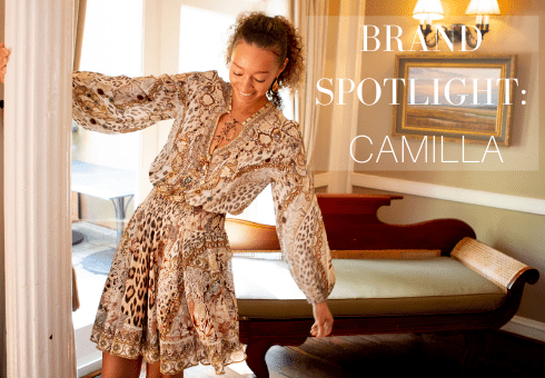 Brand Spotlight Blog Cover Page with Model Wearing Camilla Dress