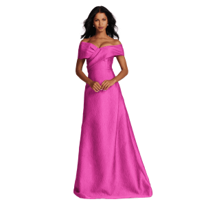 OFF SHOULDER JAQUARD GOWN WITH CROSS FRONT BOW