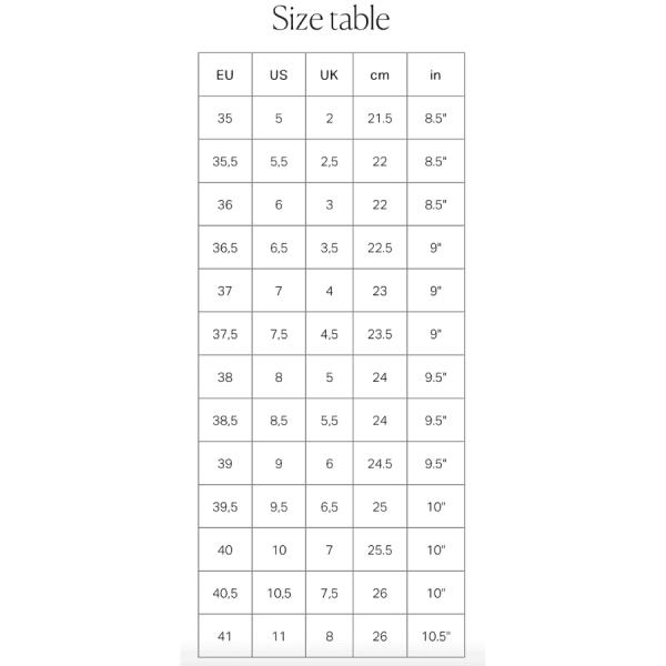 AGL Size Chart