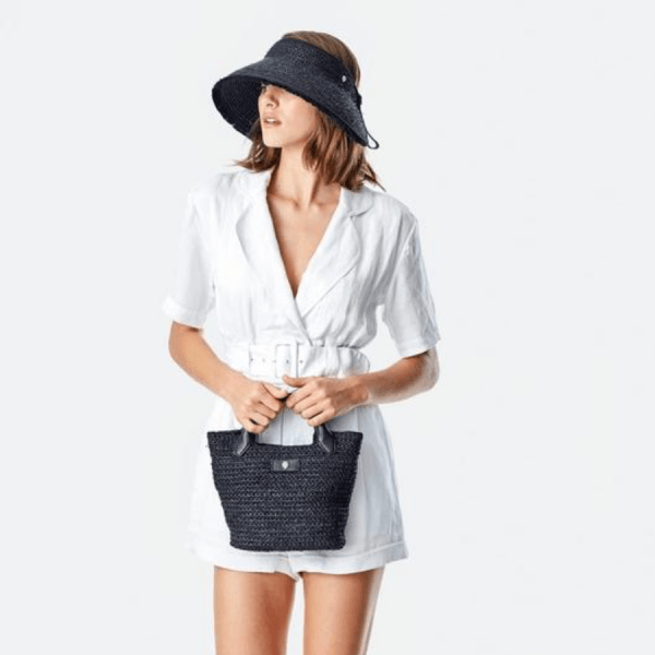 Cassia Mini Bag in Charcoal with model