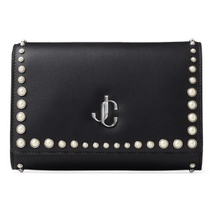 Leather Pearl-Studded Varenne Clutch Bag product shot front view