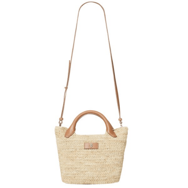Cassia Mini Bag in Natural/Tan product shot front view with strap