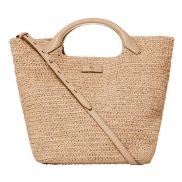 Cassia Small Handbag in Natural product shot with strap
