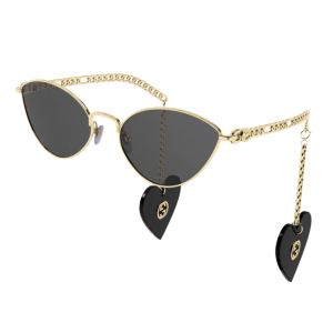 Gucci Chain Link Heart Sunglasses product shot front and side view