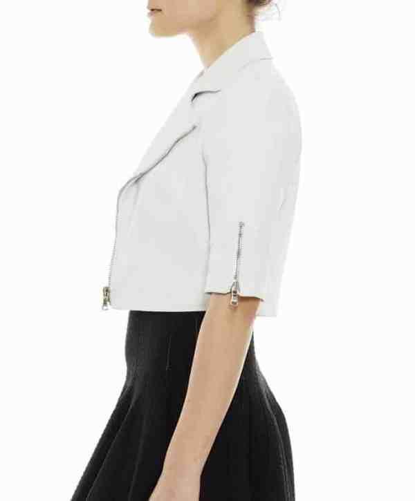 Short Sleeve Cropped Leather Moto Jacket in White
