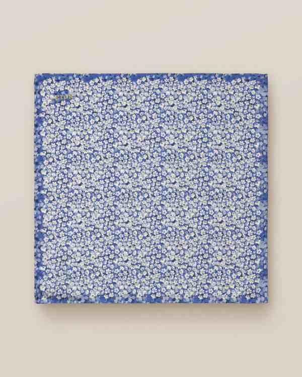 Mid-Blue Floral Silk Pocket Square
