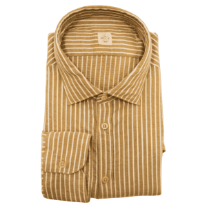 Stripe Spread Collar Shirt in Beige