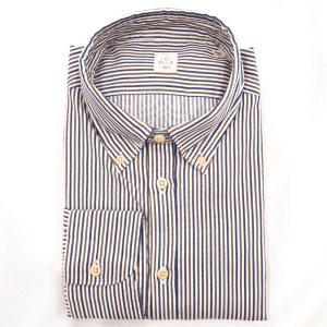 Stripe Button Down in Brown and Blue