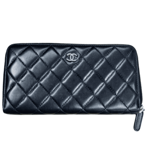 Chanel Black Zip Around Wallet