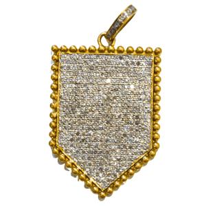 Shield Diamond Brass Pendant